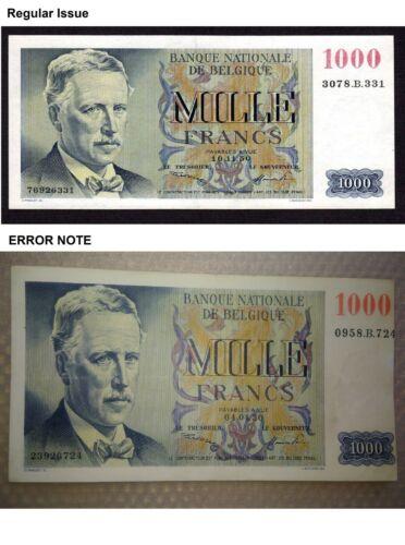 Belgium 1000 Francs 1950 P.131  ERROR NOTE RARE