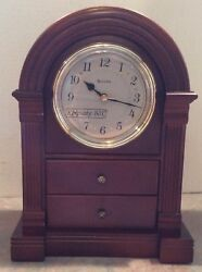 Bulova B1880 Anniston Walnut Finish Mantel Clock w/ Trinket Drawers - MIB