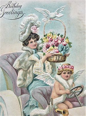LADY with BIG HAT Brings Pink ROSES Angel Drives AUTO Embossed Postcard Pink Angel Hat