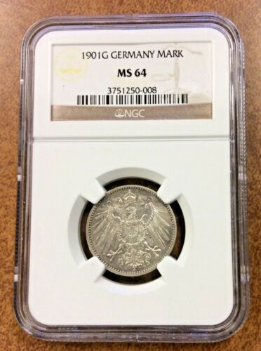 1901-G Germany 1 Mark NGC  MS64 bright SILVER Eagle