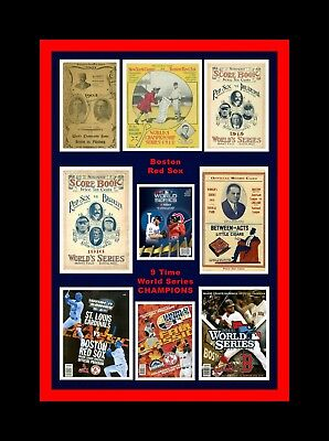 BOSTON RED SOX 1903/12/15/16/18 & 2004/07/13/18 WORLD SERIES MATTED PROGRAMS PIC