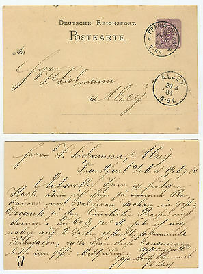 10855 - Postkarte - Ganzsache - Frankfurt/Main 19.8.1884 nach Alzey