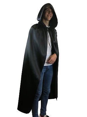 Fancy Dress Hooded Black Cape Long Vampire Cloak Halloween Party Pagan - Pagan Halloween Party