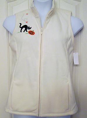 NWT Women's Halloween Sleeveless Fleece Vest Cat & Pumpkin Applique