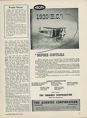 1951 Aerotec Controls Ad Aviation Thomas Morse NB3-A Biplane 1920 Historic