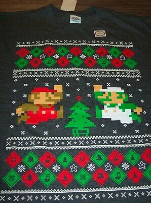 Nintendo SUPER MARIO BROS. CHRISTMAS SWEATER STYLE T-Shirt LARGE NEW Luigi Mario
