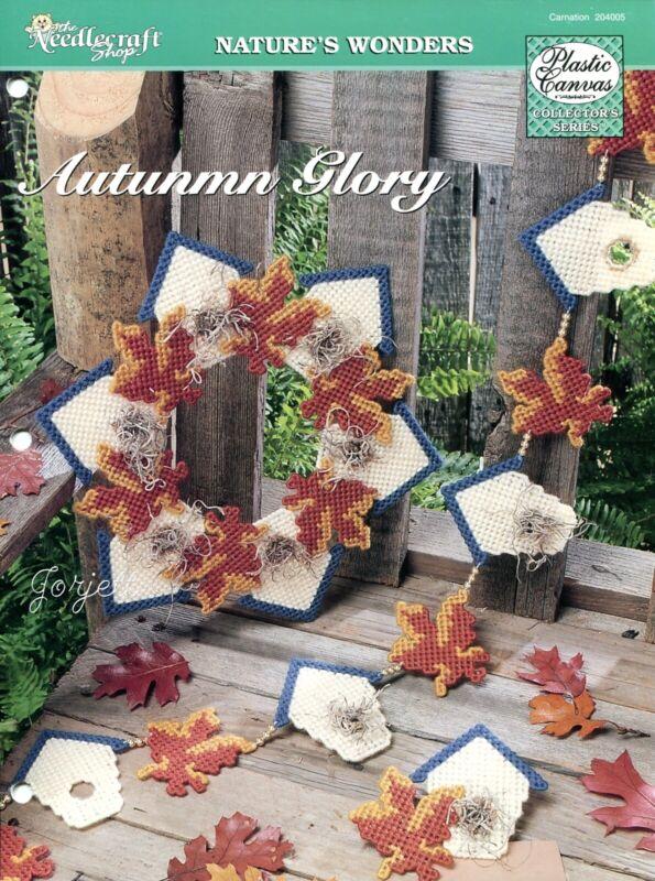 Autumn Glory ~ Leaf & Birdhouse Wreath Garland plastic canvas pattern leaflet