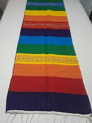 Mexican Serape Rainbow Table Runner Fiesta Woven Tablerunner - Fiesta Table Runner