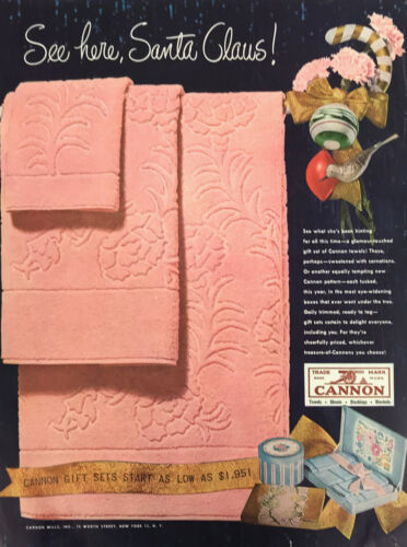 Cannon Bath Towels Magazine Print Ad Vintage Household Home Gift Set Pink 1947
