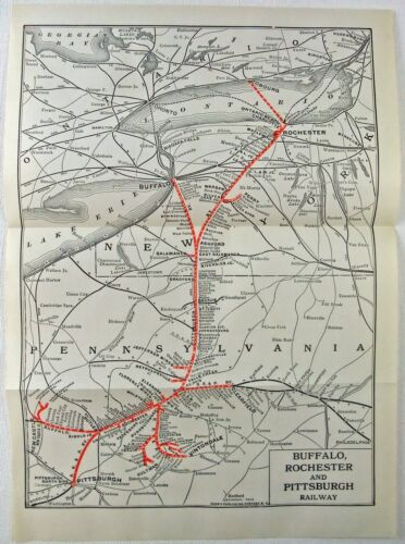 Buffalo Rochester & Pittsburgh Railway - Original 1924 System Map. Vintage