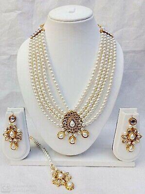 Bollywood Indian Designer Pearl Kundan Fashion Kundan Party Jewelry Set