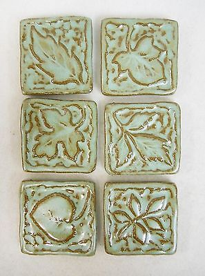 LEAF TILES Handmade Ceramic Mosaic Tiles, Craft Tiles, TURQUOISE STONE Set of 6