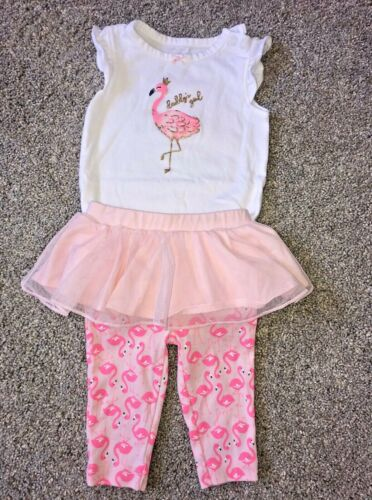 Baby Girl Bodysuit Outfit * One- Piece Shirt and Pants * Tutu * Flamingo * 3 Mos