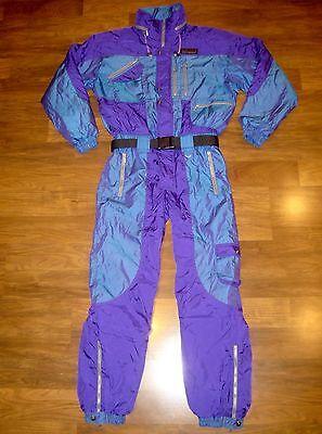 Vtg 80s Schneider IRIDESCENT Mens MEDIUM Snow SKI Suit BIB neon Onesie Snowsuit