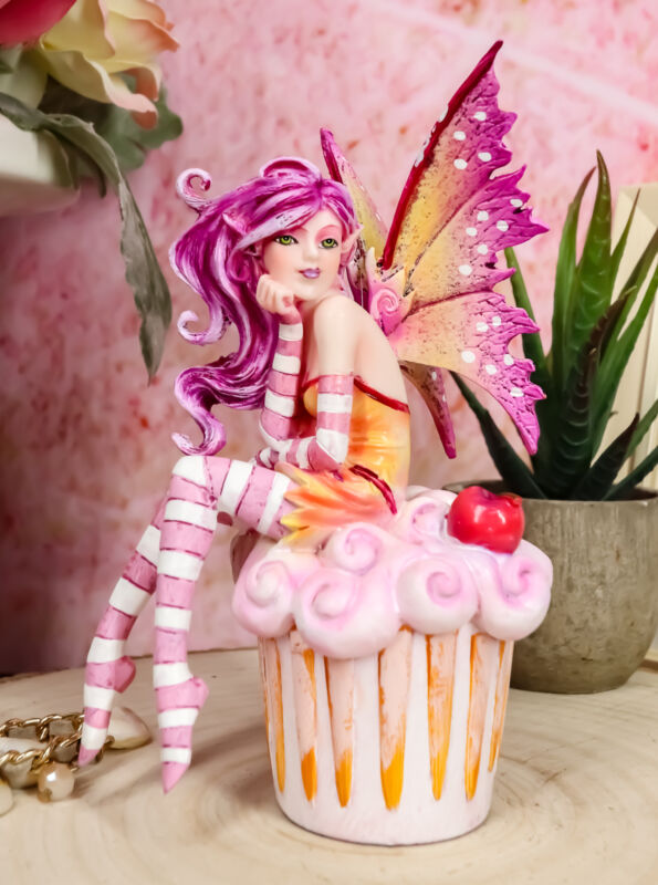 Ebros Colorful Amy Brown Pink Cherry Cupcake Fairy Statue Sweet Tooth Collection