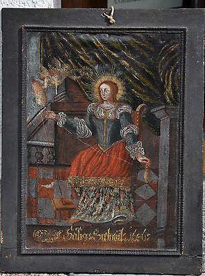 """Ölgemälde """"Heilige Lüsfthildis""""?, auf Leinwand, dat. 1686, 69/52 cm, restaur.bed"""