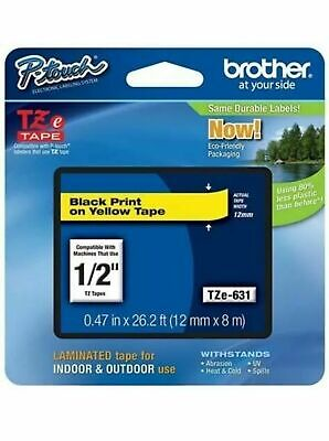 Brother Genuine P-touch Tze-631 Standard Laminated Black On Yellow Tape