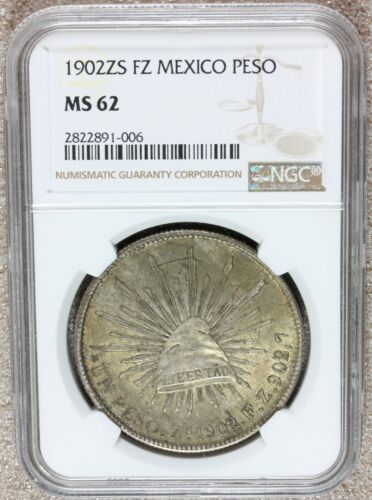 1902 Zs FZ Mexico One Peso Silver Coin - NGC MS 62 - KM# 409.3