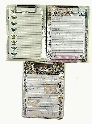 Notepads On Mini Magnetic Clip Boards 5 X 6.75 - Set Of 3-new Each Is Wrapped