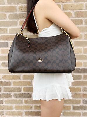 Coach F28967 Signature Mia Large Shoulder Bag Crossbody Brown Black Pink