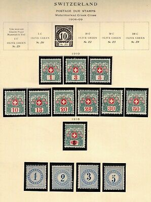 Switzerland 1910-16 Lot of 14 Postage Due Stamps Sc# J1-J4, J35-J44