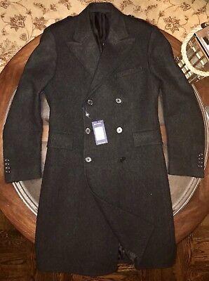 Ralph Lauren Gent's Wool Herringbone British Officer's COAT Sz 40S Made In Italy