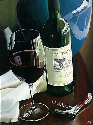 That Special Moment by Thomas Stiltz, Bottle of Wine, Glass, Opener Art Postcard ()