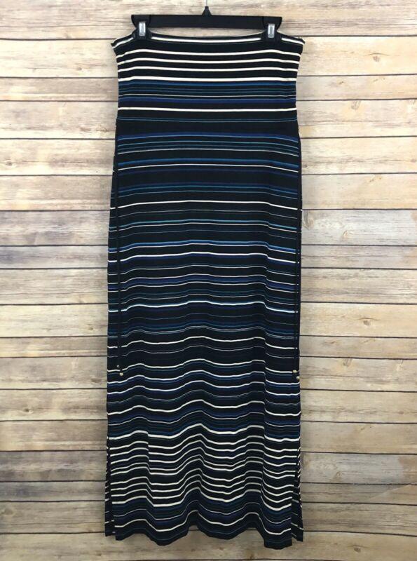 White House Black Market Maxi Skirt MEDIUM PETITE Black Blue Striped Side Slits