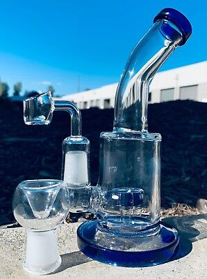 Hookah Water Pipe Glass 7 inch Incline Rig Tortoise Perk Bong w/ Banger + Bowl