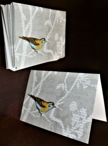 GRAPHIQUE small  BIRD notecards - lot of 15 - free shipping