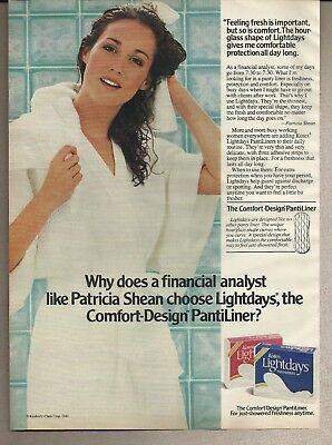 1982 Kotex Lightdays Pantiliners Patricia Shean Cute Girl Photo Vintage Print Ad