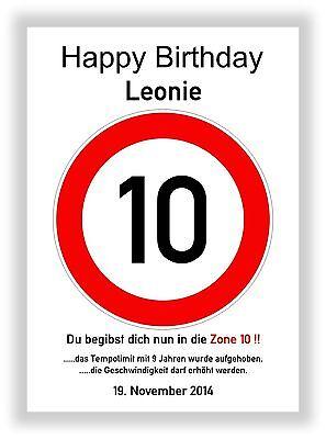 Verkehrszeichen Bild 10 Geburtstag Deko Geschenk persönliches Verkehrsschild NEU
