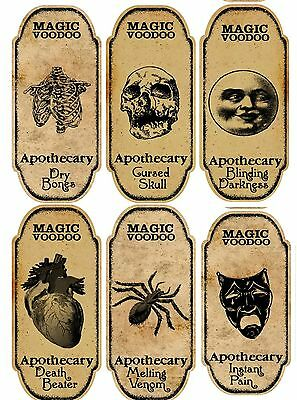 Halloween 6 large magic voodoo apothecary bottle labels stickers crafts - Voodoo Party Decorations