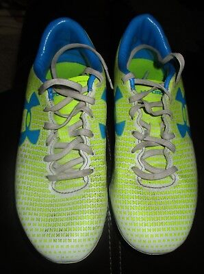 Under Armour Guide neon yellow blue cleats shoes misses size 6.5 US UK 4 (Sizing Guide Uk)