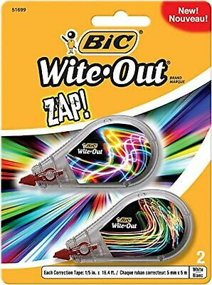 Bic Wite-out Brand Zap Correction Tape White 2-count