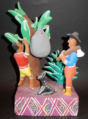 """Carmela Martinez Alvarez Mexican Folk Art Pottery, Tree cutter, etc 13"""" Tall"""