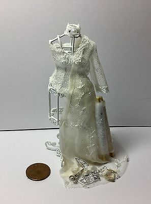 1:12  Dolls House miniature Handmade WEDDING DRESS PART MADE ON WHITE WIRE DUMMY