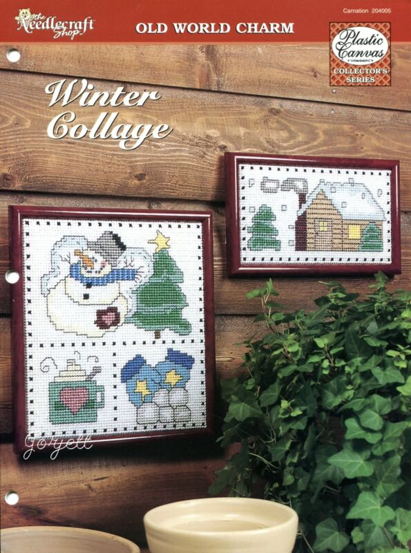 Winter Collage ~ Snow Scene & Snowman Pictures plastic canvas pattern leaflet