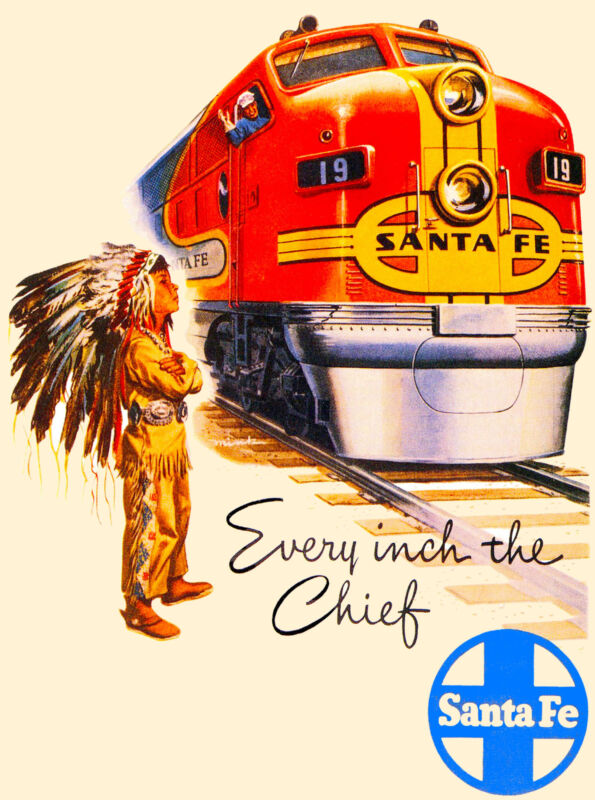Santa Fe New Mexico Inch Chief Train United States  Travel Advertisement Poster