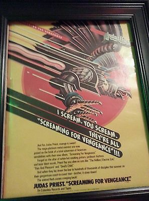 Judas Priest Screaming For Vengeance Rare Original Promo Poster Ad Framed!