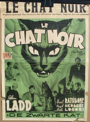 THE BLACK CAT 1941 Belgian Poster Universal Mystery, Lugosi, Rathbone, Ladd RARE