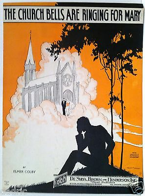 "1927 ""THE CHURCH BELLS ARE RINGING FOR MARY"" ART COVER SHEET MUSIC - WEDDING"