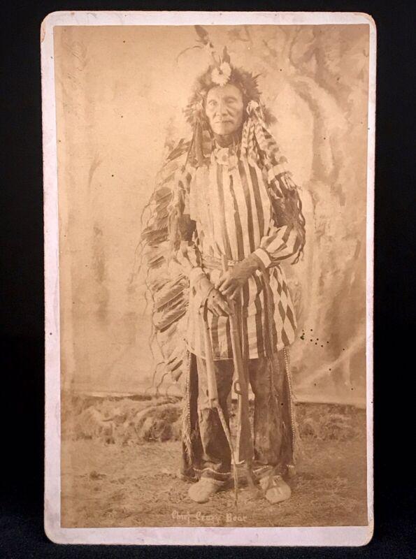 "RARE CABINET PHOTO - PINE RIDGE MASSACRE - WOUNDED KNEE ""CHIEF CRAZY BEAR"" 1890"