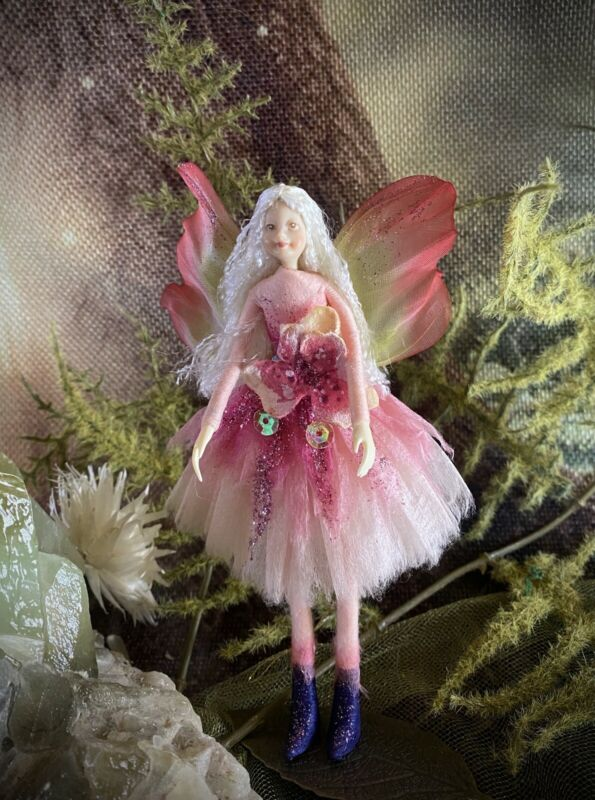 """Poseable Handmade  Fairy Collectible Doll Ornament """"Blossom"""""""