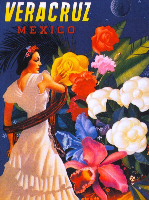 Veracruz Mexico Senorita Mexican Vintage Latin Travel Advertisement Poster