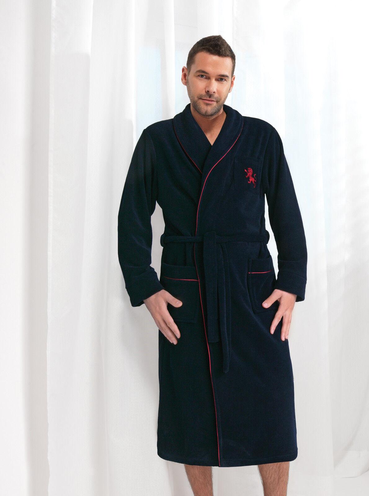 Mens Gents 100% Cotton Bathrobe Dressing Gown Housecoat Collar, Belt ...