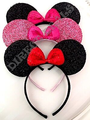 NEW 3 Pc Minnie Mouse Headband Shiny Black Pink Red Bow Shimmer Ears Party Favor](Pink Minnie Mouse)