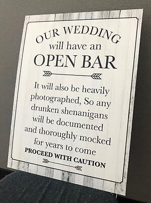 Wedding Open Bar Sign (Wedding Bar Signs)