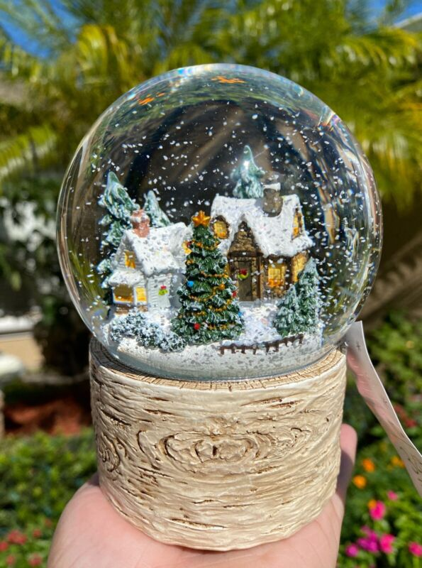 """Christmas Tree Snow Globe Cabin Home Decor Musical 6"""" Water Dome Holiday Gift"""