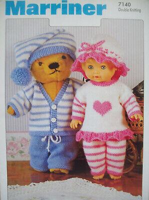 Baby Dolls Teddy Clothes KNITTING PATTERN 12 -22 inch Premature Reborn DK 7140